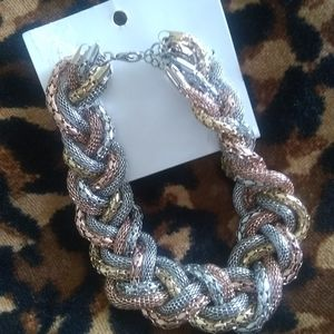 NEW H&M Statement Necklace Silver Gold Rose Chain